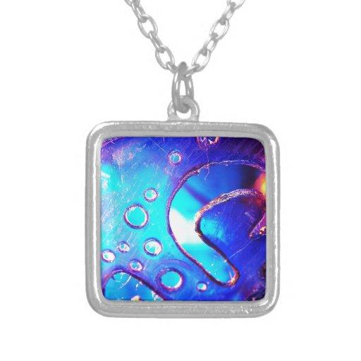 Digital Radial Colours Blur Glow Art Beautiful Des Square Pendant Necklace