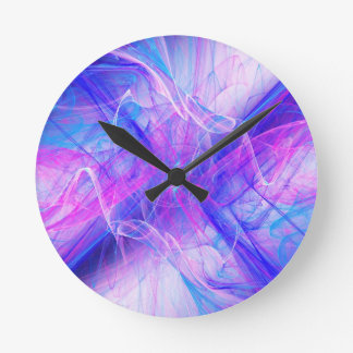 Digital Radial Colours Blur Glow Art Beautiful Des Round Clock