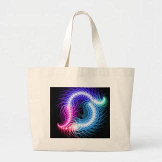 Digital Radial Colours Blur GlowArt Beautiful Desi Large Tote Bag