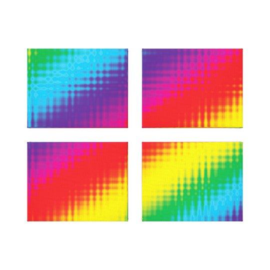 Digital Rainbow Lines Canvas Print