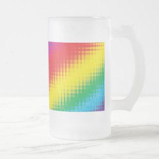 Digital Rainbow Lines Glass 16 Oz Frosted Glass Beer Mug