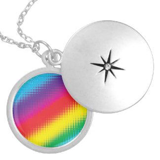 Digital Rainbow Lines Locket Necklace