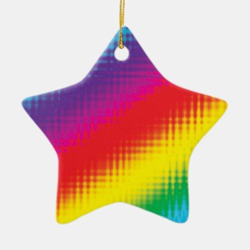 Digital Rainbow Lines Double-Sided Star Ceramic Christmas Ornament