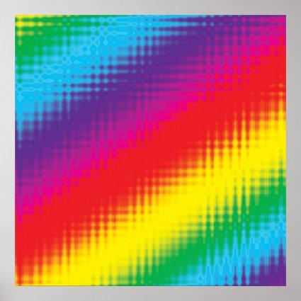 Digital Rainbow Lines Poster