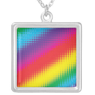 Digital Rainbow Lines Silver Plated Necklace