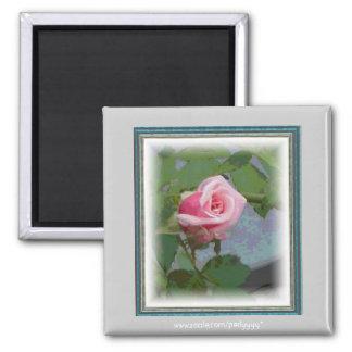 Digital Rosebud 2 Inch Square Magnet