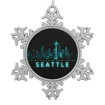Digital Seattle Snowflake Pewter Christmas Ornament