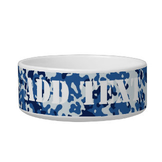 Digital Sky Blue Military Camouflage Pet Water Bowls