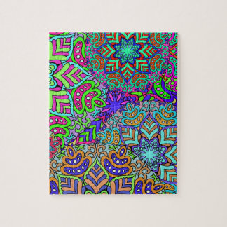 Digital snowflakes and flowers puzzle