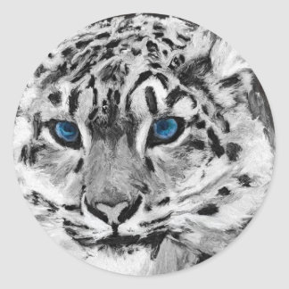 Digital Tiger Paint Classic Round Sticker
