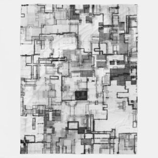 Digital Urban Circuit Design Fleece Blanket