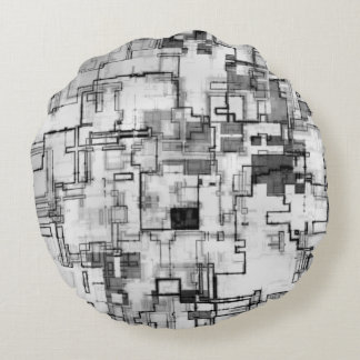 Digital Urban Circuit Design Round Pillow