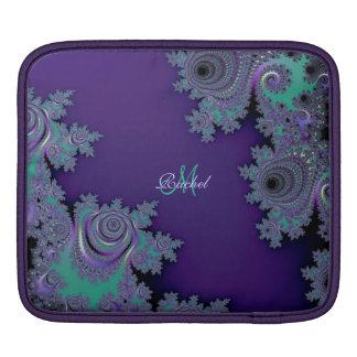Digital Violet Fractal Personalized iPad Sleeve