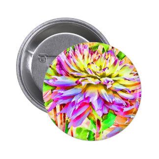 Digital Watercolor Dahlia Pin Button