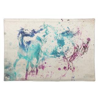 Digital Watercolor Painting Of Arabian Horses Cloth Place Mat
