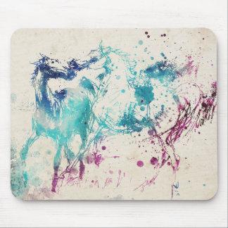 Digital Watercolor Painting Of Arabian Horses Mouse Pad