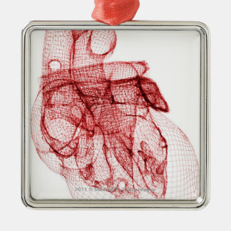 Digital wireframe of the human heart metal ornament