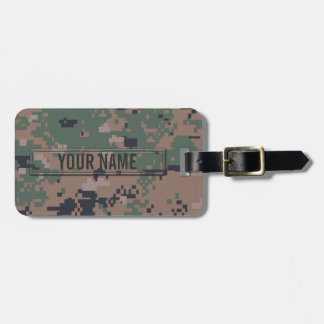 Digital Woodland Camouflage Customizable Luggage Tag
