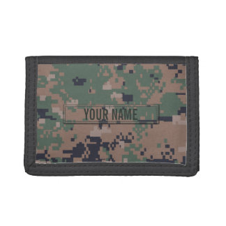 Digital Woodland Camouflage Customizable Tri-fold Wallet