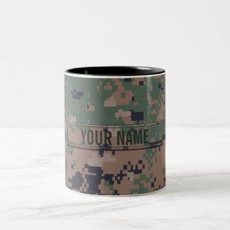 Digital Woodland Camouflage Customizable Two-Tone Coffee Mug