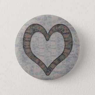 Digital Woodland Camouflage  Heart on Camo Button
