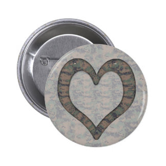 Digital Woodland Camouflage  Heart on Camo Buttons