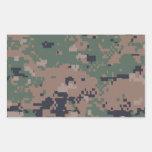 Digital Woodland Camouflage Rectangular Sticker