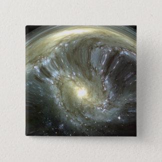 Digitally altered galaxy pinback button