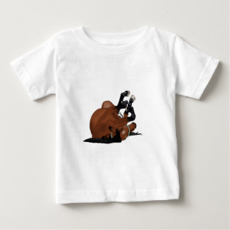 Digitally Drawn Bay or Brown Horse Rolling on Back Baby T-Shirt