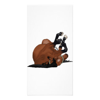 Digitally Drawn Bay or Brown Horse Rolling on Back Card