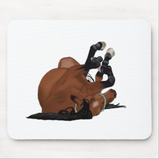 Digitally Drawn Bay or Brown Horse Rolling on Back Mouse Pad