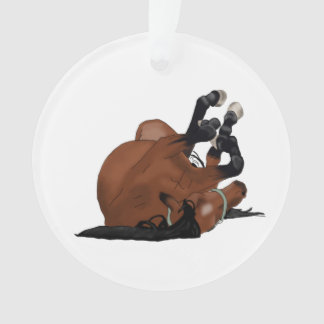 Digitally Drawn Bay or Brown Horse Rolling on Back Ornament