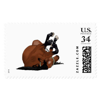 Digitally Drawn Bay or Brown Horse Rolling on Back Postage