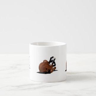 Digitally Drawn Bay or Brown Horse Rolling on Back Espresso Mugs