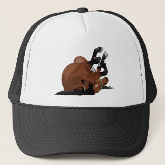 Digitally Drawn Bay or Brown Horse Rolling on Back Trucker Hat