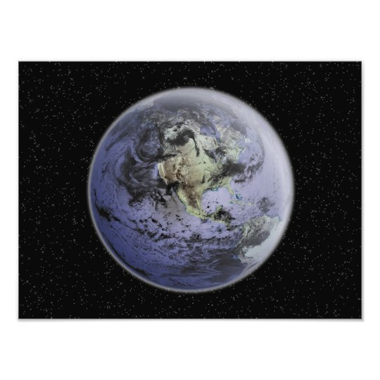 Digitally enhanced image of the Full Earth Photo Print