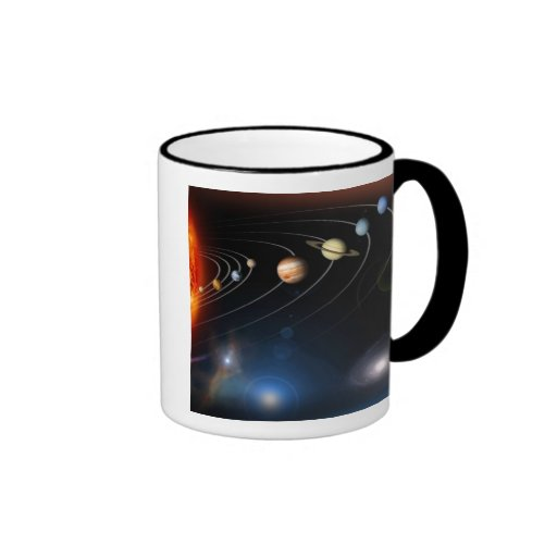 Digitally generated image of our solar system coffee mug