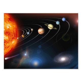 Digitally generated image of our solar system photo print