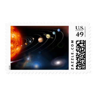 Digitally generated image of our solar system postage