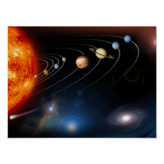 Digitally generated image of our solar system poster