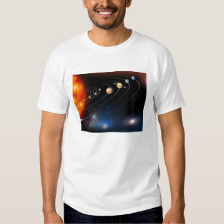 Digitally generated image of our solar system shirts
