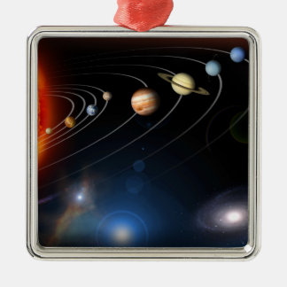 Digitally generated image of our solar system square metal christmas ornament