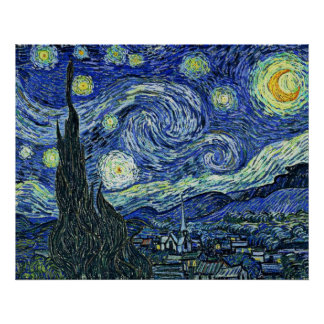 Digitally Modified Starry Night Van Gogh Poster