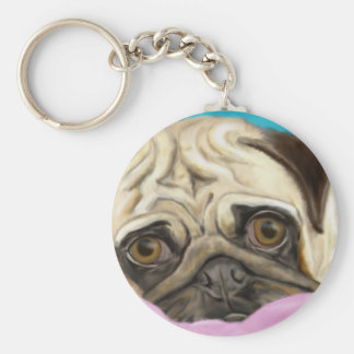 Digitally Painted Pug with Sad Eyes Lying on Rug Keychain