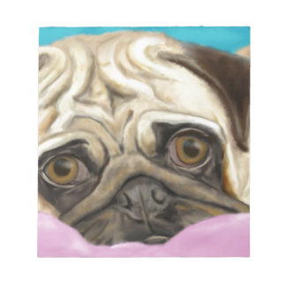 Digitally Painted Pug with Sad Eyes Lying on Rug Note Pad