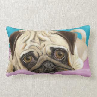 Digitally Painted Pug with Sad Eyes Lying on Rug Pillows