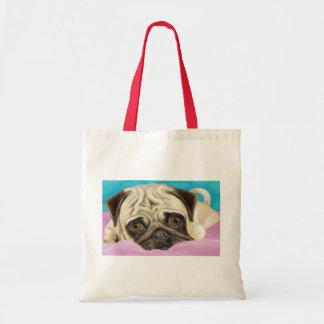 Digitally Painted Pug with Sad Eyes Lying on Rug Tote Bag