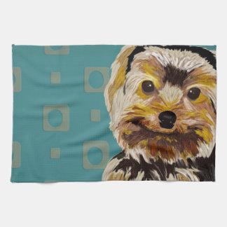 Digitally Painted York Maltese Mix. Turquoise Towel