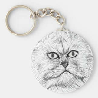 Digitally Sketched Persian Cat with Big Eyes Keychain