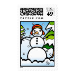 Digitally Stained-Glass Snowman Stamp